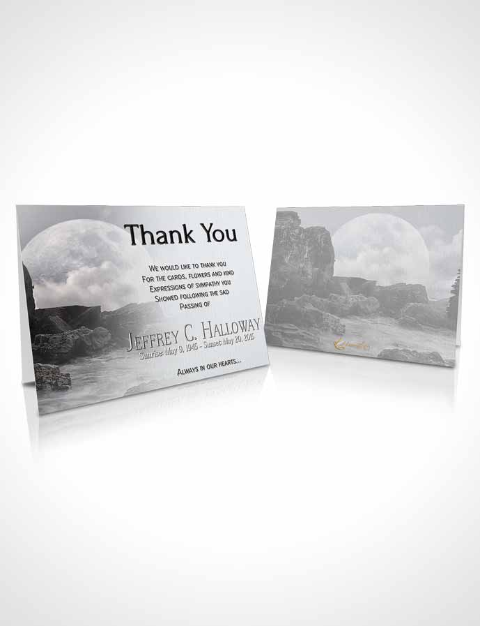 Funeral Thank You Card Template Black and White Rocky Moon