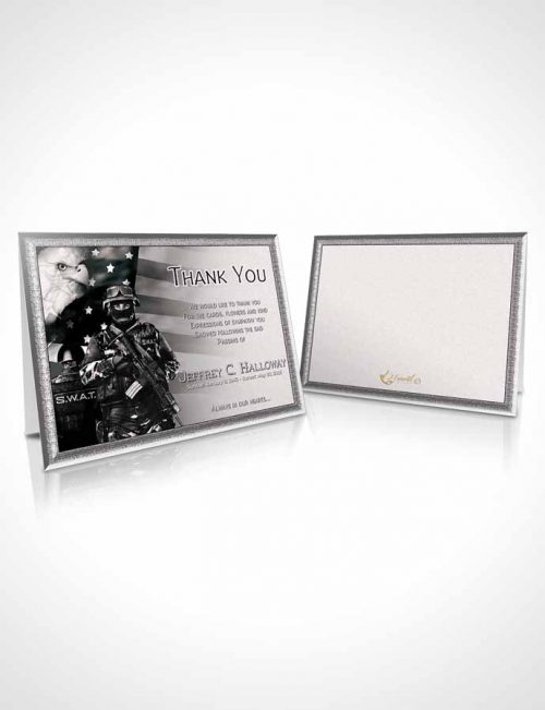 Funeral Thank You Card Template Black and White SWAT Enforcement