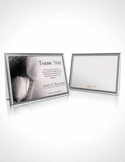 Funeral Thank You Card Template Black and White Tulip Garden