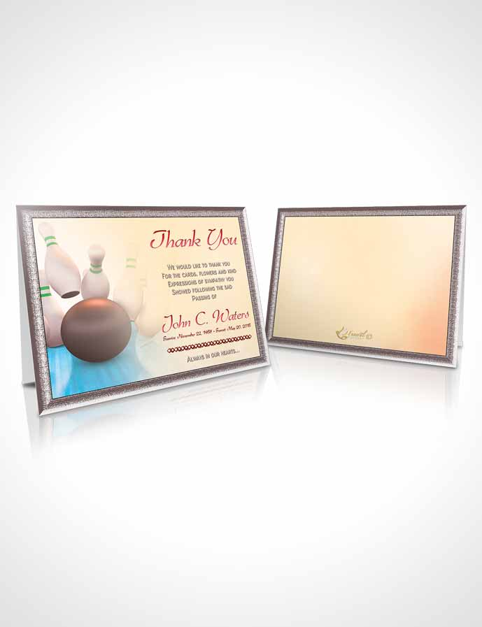 Funeral Thank You Card Template Bowling Days Sapphire Mist