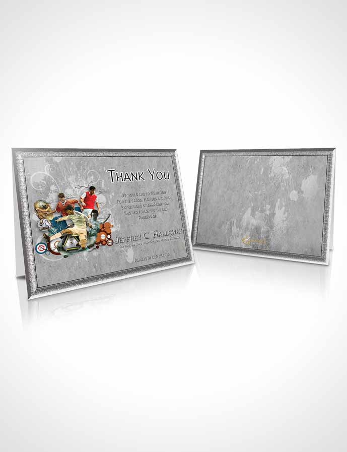 Funeral Thank You Card Template Brilliant Natural Talent Soccer Superstar