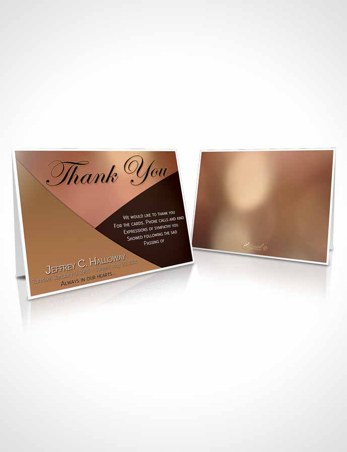 Funeral Thank You Card Template Crystal Harmony Persian Orange Dark