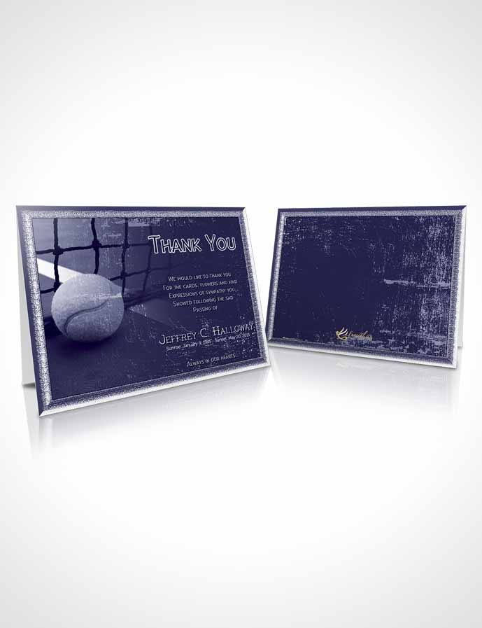 Funeral Thank You Card Template Deep Blue Tennis Star