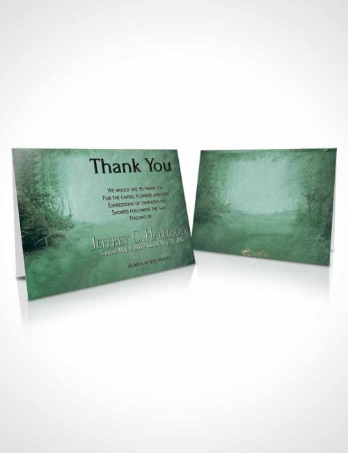 Funeral Thank You Card Template Deep Forest Walk in the Woods