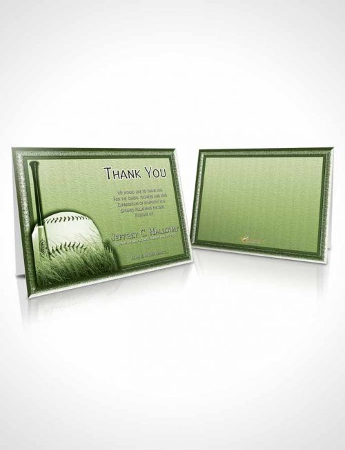Funeral Thank You Card Template Emerald Baseball Star Dark