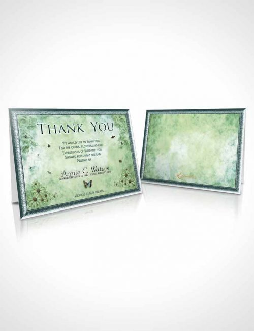 Funeral Thank You Card Template Emerald Sunny Sunflowers