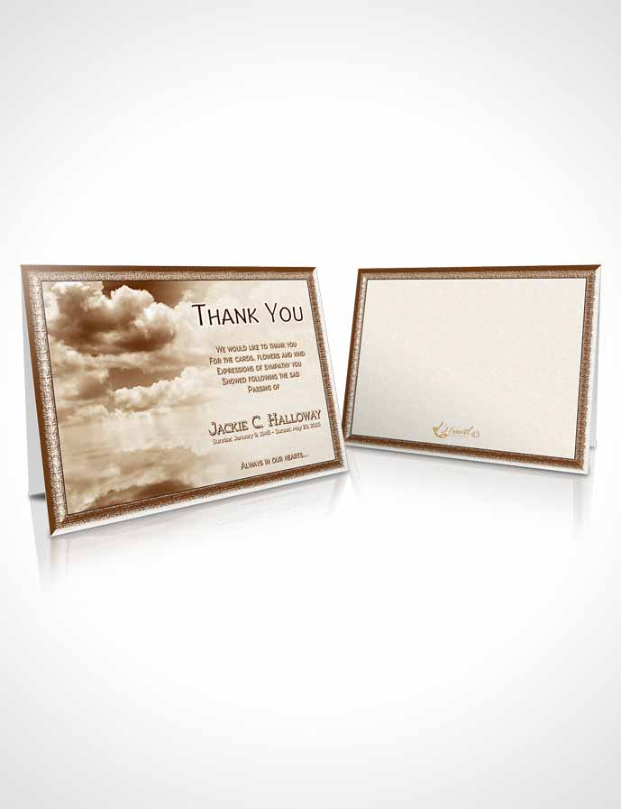 Funeral Thank You Card Template Fiery Golden Clouds