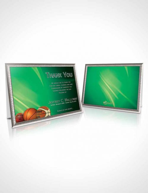 Funeral Thank You Card Template Forest Basketball Lover Light