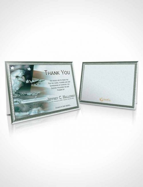 Funeral Thank You Card Template Forest Navy Salute