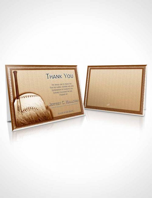 Funeral Thank You Card Template Golden Baseball Star Light