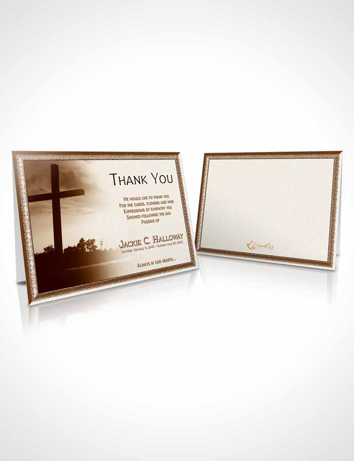Funeral Thank You Card Template Golden Cross in the Sky