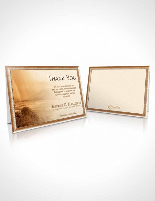 Funeral Thank You Card Template Golden Misty Mountain