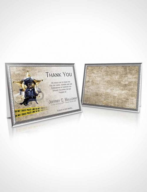 Funeral Thank You Card Template Golden Police Enforcement