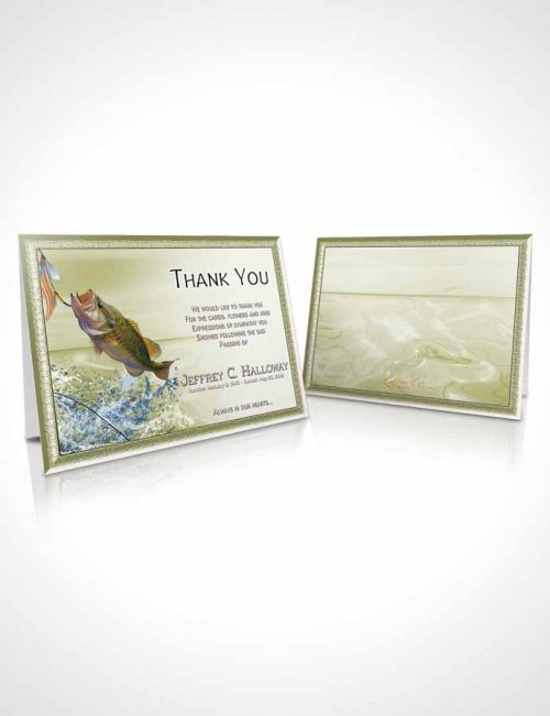 Funeral Thank You Card Template Golden Waters Calm Fisherman