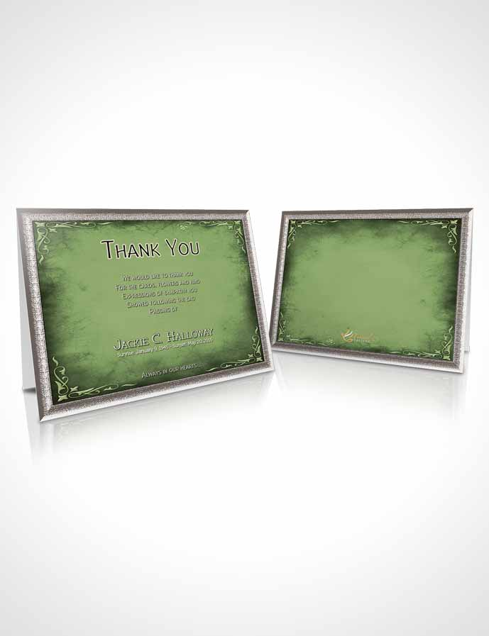 Funeral Thank You Card Template Heavens Touch Soft Emerald Mountain