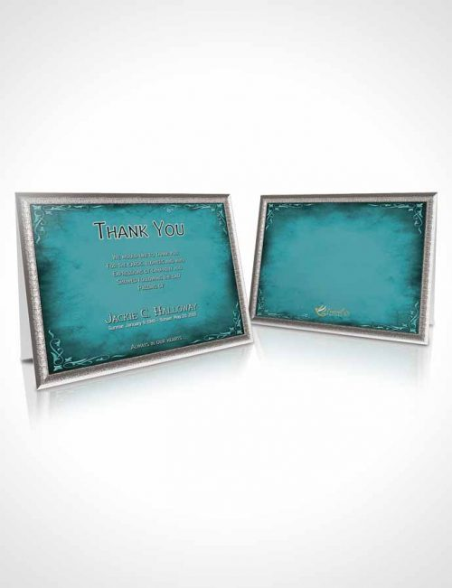 Funeral Thank You Card Template Heavens Touch Soft Turquoise Breeze