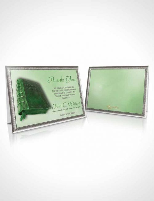 Funeral Thank You Card Template Holy Bible Emerald Glow