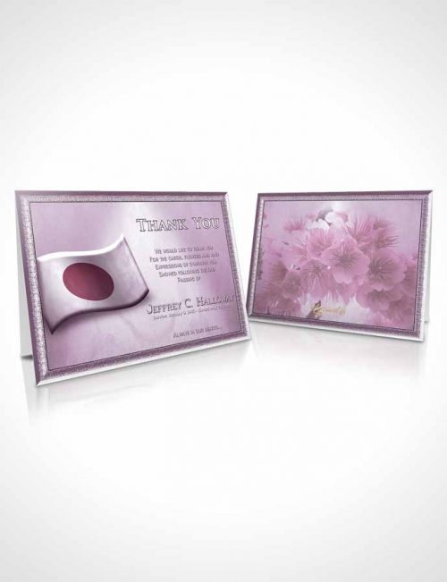 Funeral Thank You Card Template Japanese Burgundy Blossoms