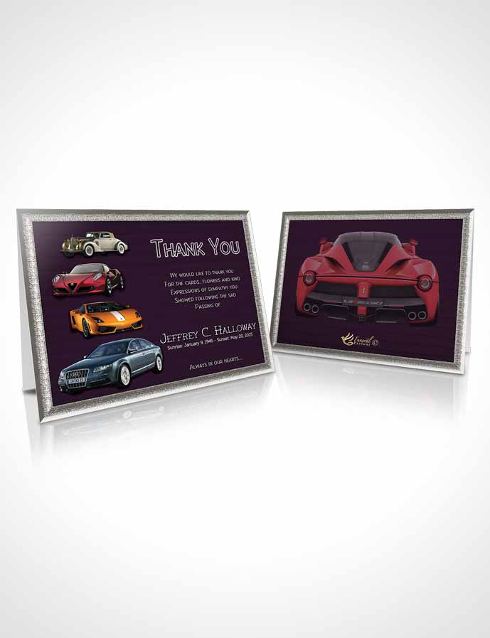 Funeral Thank You Card Template Lavender Love Car Enthusiast