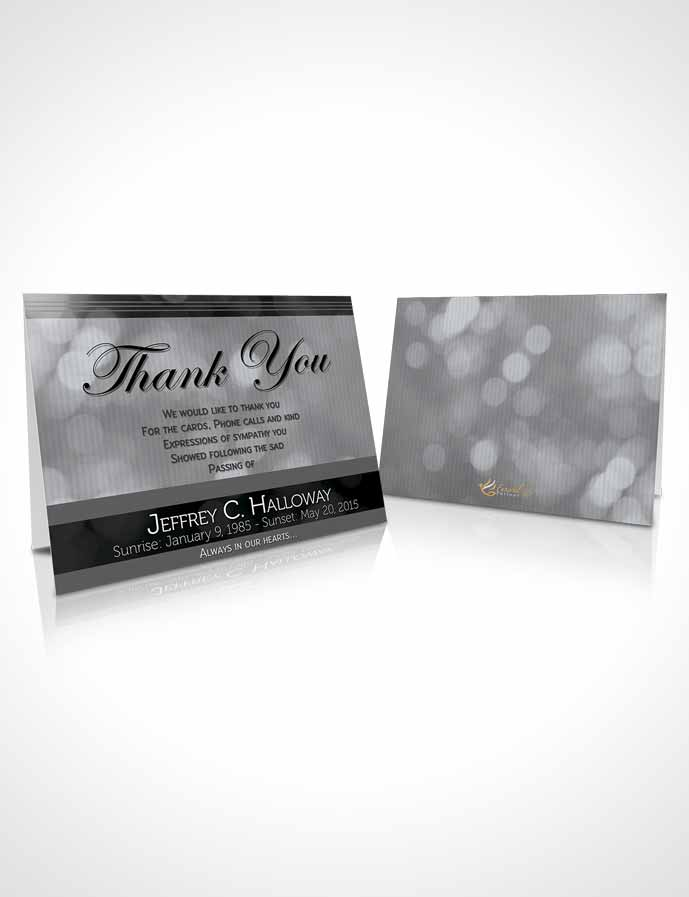 Funeral Thank You Card Template Majestic Black and White Light