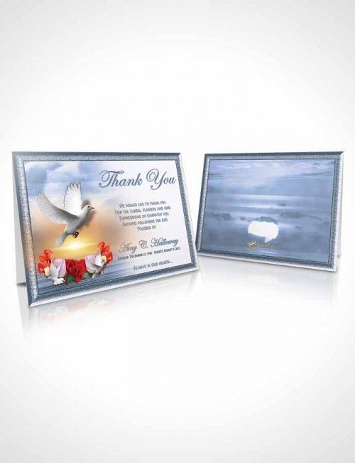 Funeral Thank You Card Template Ocean Delightful Doves