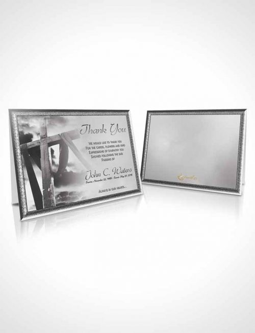 Funeral Thank You Card Template On The Cross Black and White