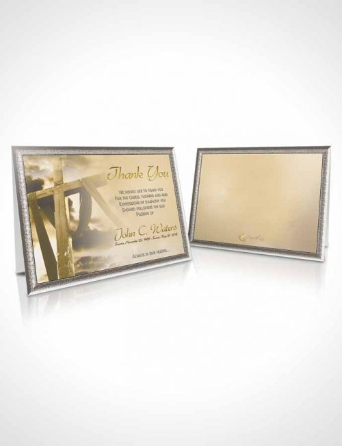 Funeral Thank You Card Template On The Cross Golden Heritage