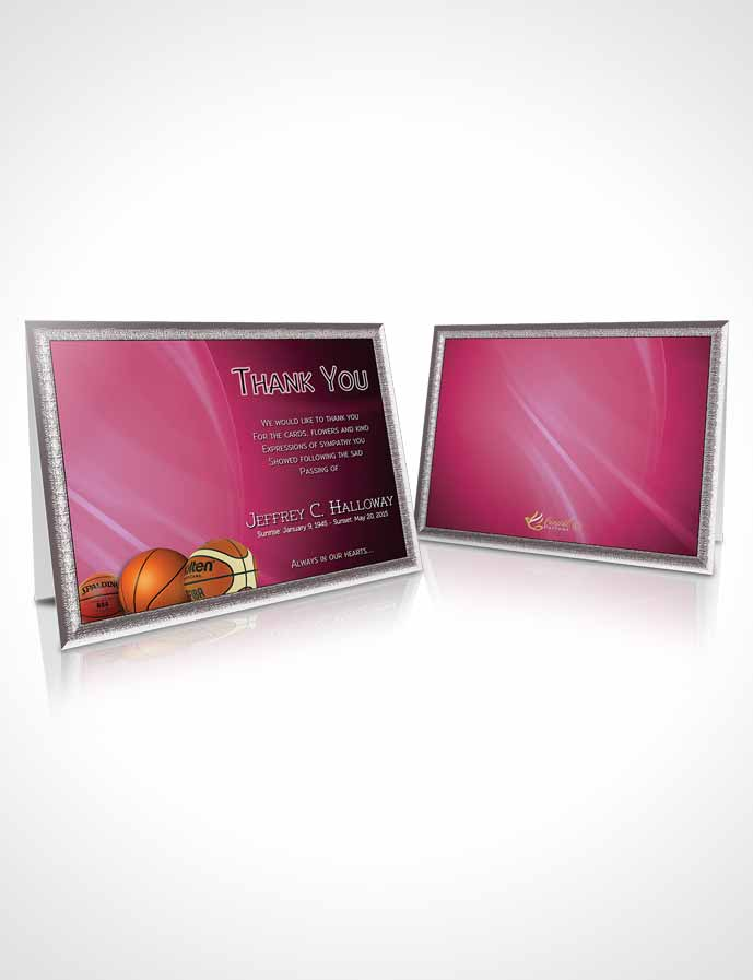 Funeral Thank You Card Template Pink Basketball Lover Dark