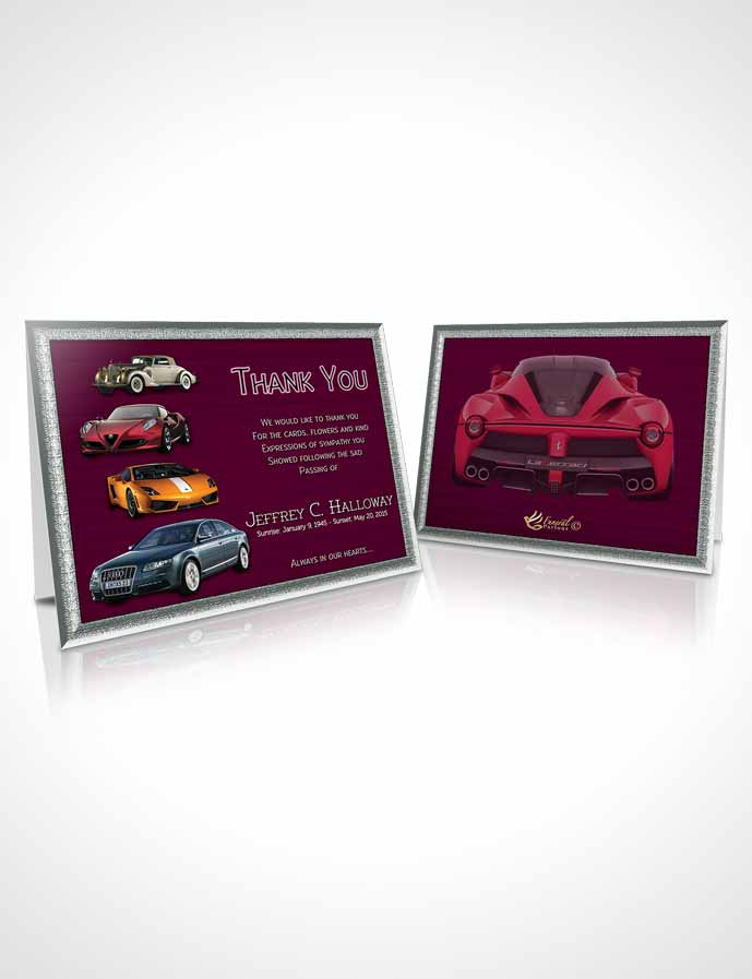 Funeral Thank You Card Template Pink Desire Car Enthusiast