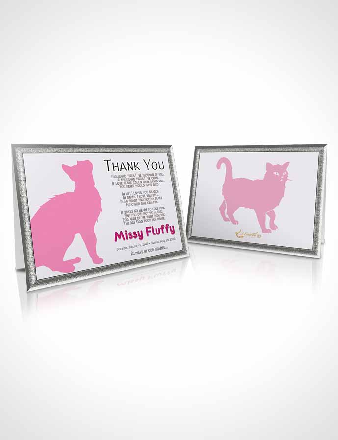 Funeral Thank You Card Template Pink Fluffy Cat