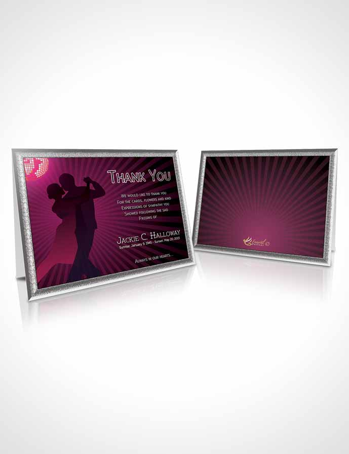 Funeral Thank You Card Template Pink Graceful Dancer Dark