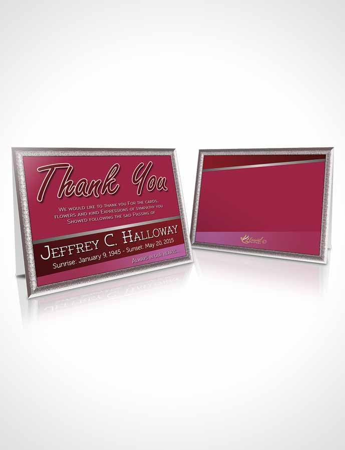 Funeral Thank You Card Template Pink Love Tranquility Dark