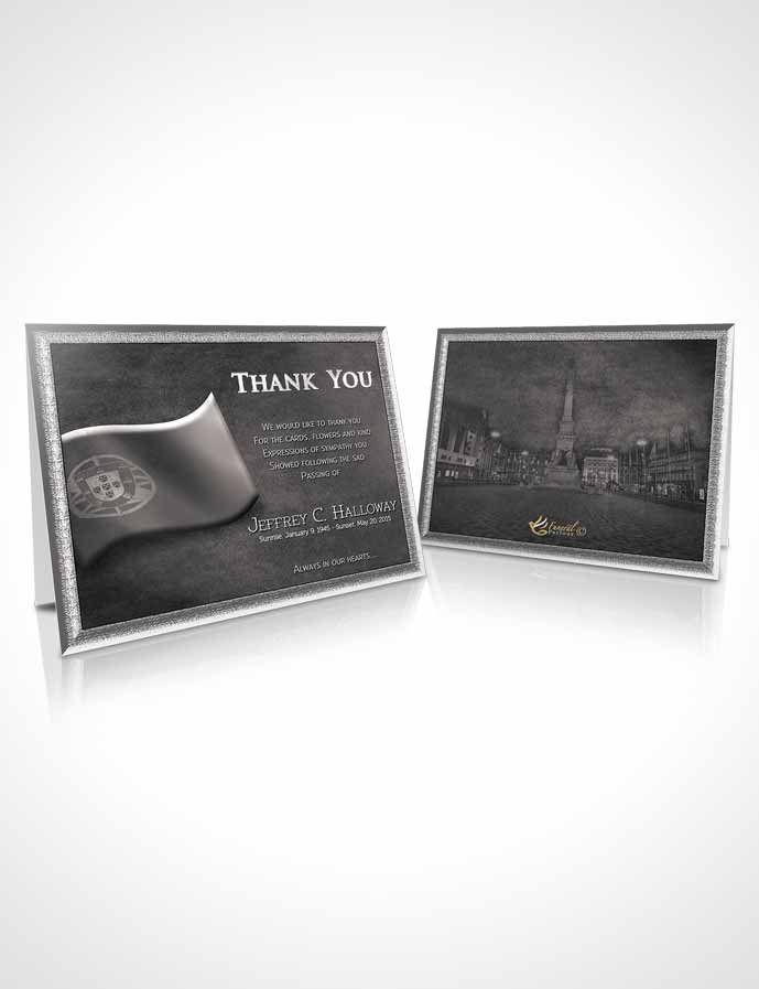 Funeral Thank You Card Template Portuguese Black and White Serenity