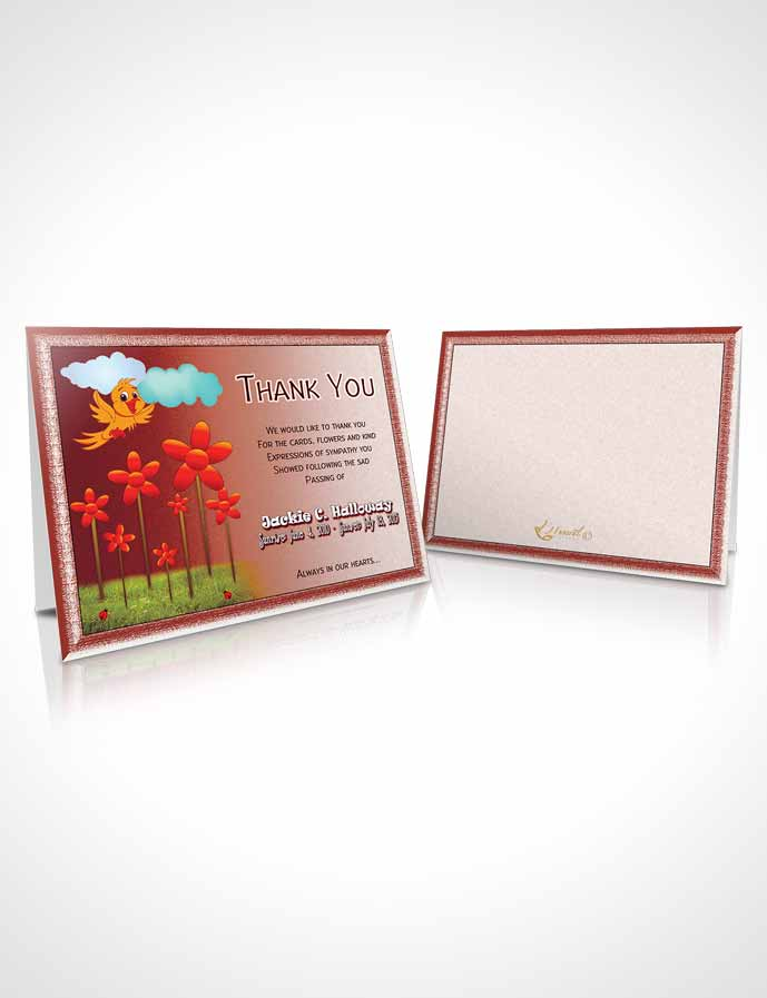 Funeral Thank You Card Template Ruby Red Childs Dream