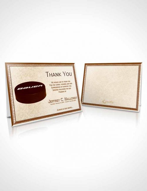 Funeral Thank You Card Template Rustic Hockey Star