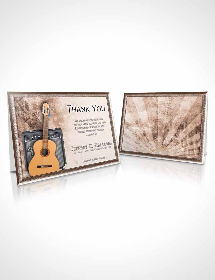 Funeral Thank You Card Template Rustic Musician