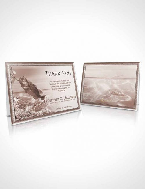 Funeral Thank You Card Template Soft Red Waters Calm Fisherman
