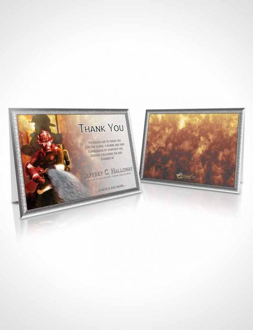 Funeral Thank You Card Template Summer Star Firefighter