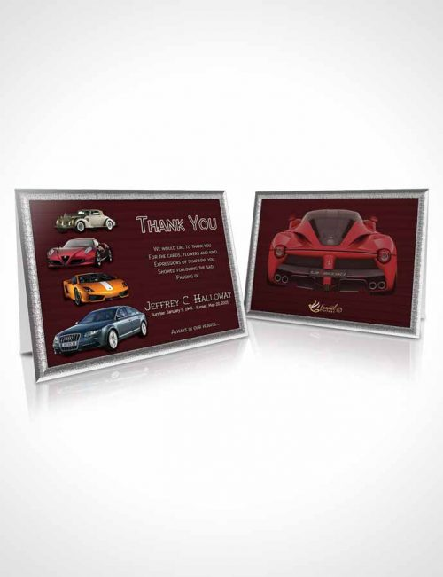 Funeral Thank You Card Template Summer Sunset Car Enthusiast