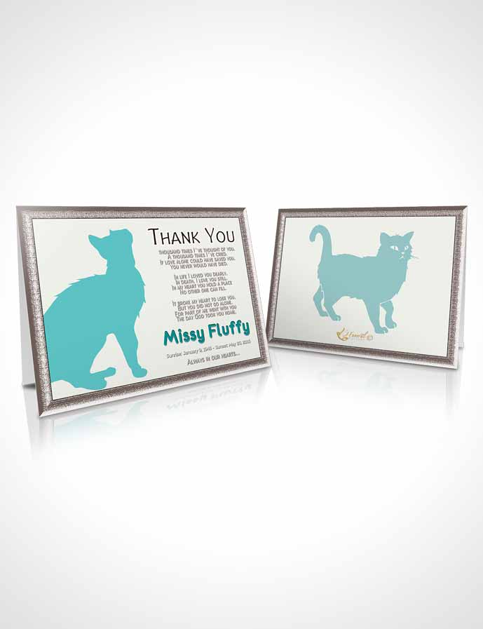 Funeral Thank You Card Template Turquoise Fluffy Cat