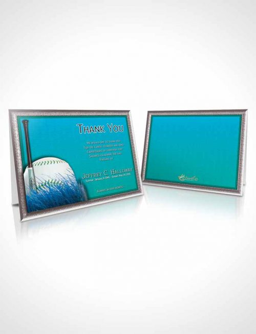 Funeral Thank You Card Template Turquoise Sky Baseball Star Light