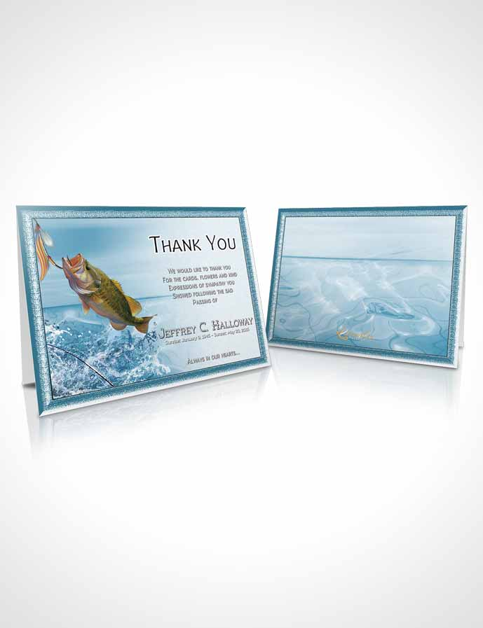 Funeral Thank You Card Template Turquoise Waters Calm Fisherman