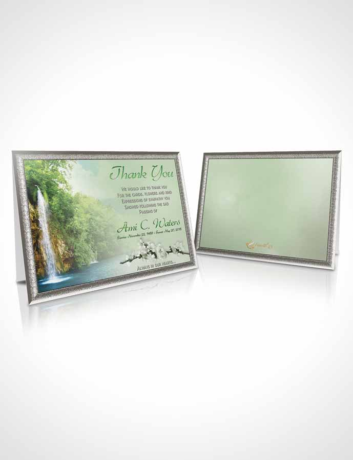 Funeral Thank You Card Template Waterfall Heaven Emerald Glow