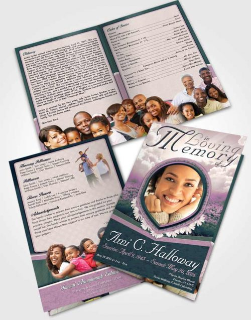 Bifold Order Of Service Obituary Template Brochure Emerald Splendor