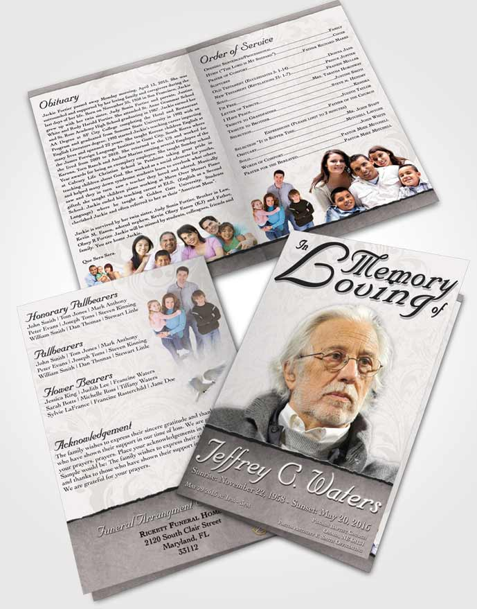 Bifold Order Of Service Obituary Template Brochure Humble Destiny