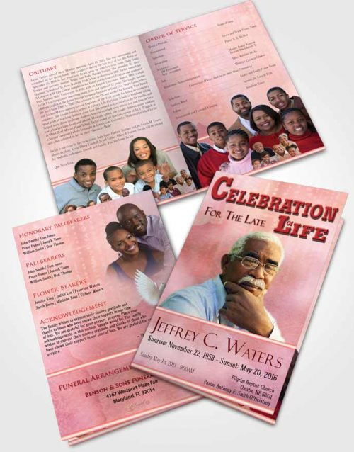Bifold Order Of Service Obituary Template Brochure Rosy Blossom Timeless Love