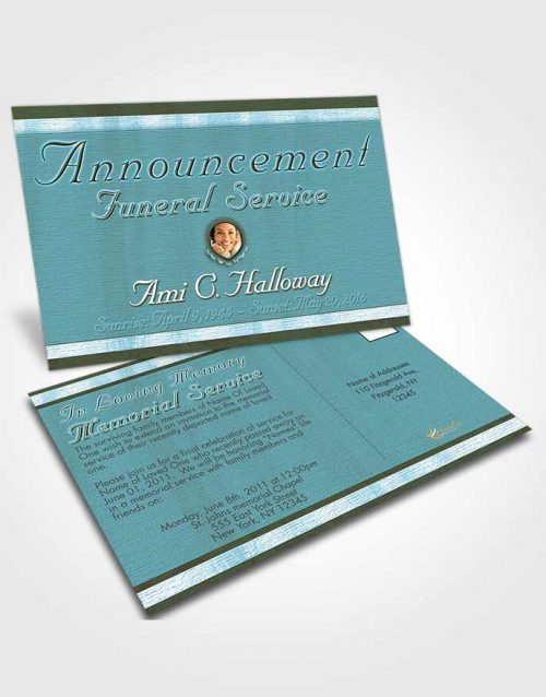 Funeral Announcement Card Template Ocean Reef Splendor