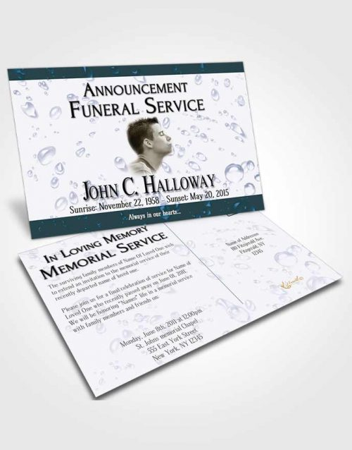Funeral Announcement Card Template Oceans Enchantment