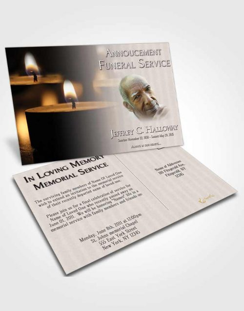 Funeral Announcement Card Template Soft Candle Light