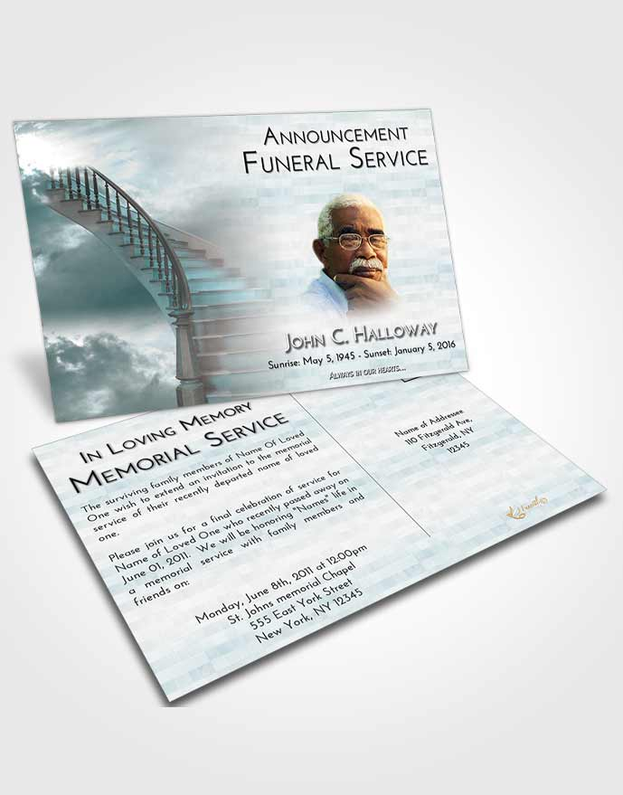 Funeral Announcement Card Template Stairway to Heaven Embrace